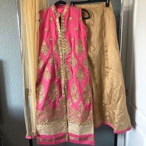 Indian Lehenga with long slit suit